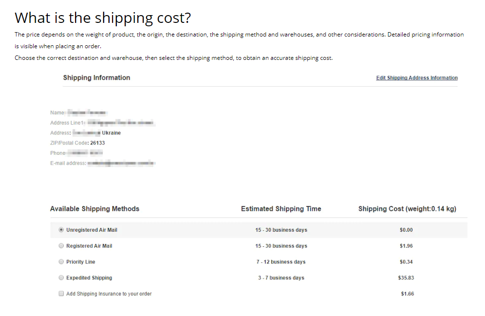 shipping policy - shipping cost