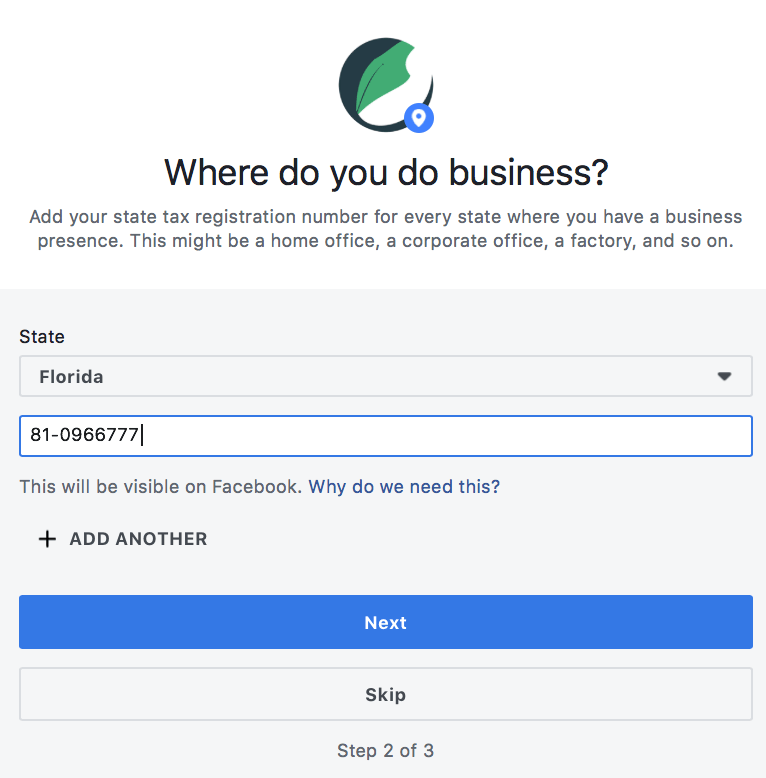 Add State Tax Registration - Set Up A Facebook Shop