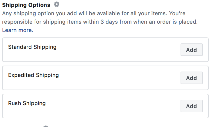 Shipping Options of Facebook Shop