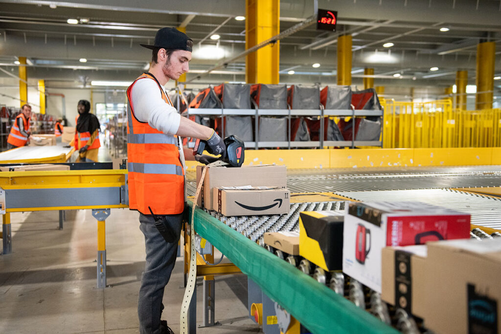 worker at Amazon fulfillment center