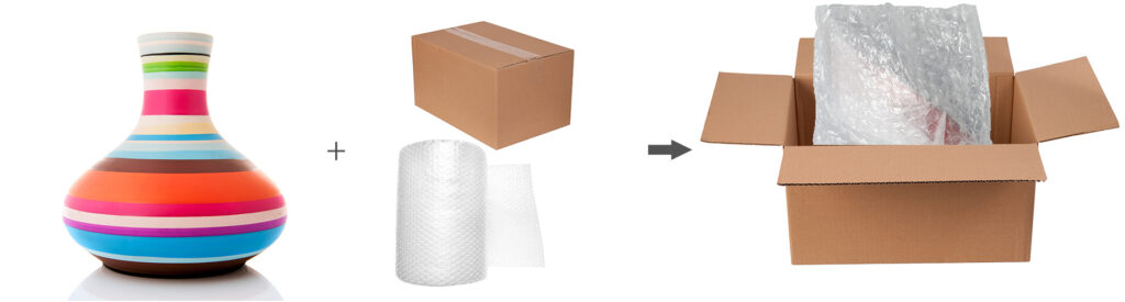 Glass vases protected by bubble wrap/air pillows in corrugated boxes